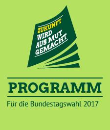 Link: Unser Programm für die Bundestagswahl 2017 Zwischen zwei Balken: Programm. Darunter: Für die Bundestagswahl 2017. Daneben eine Broschüre als Icon, auf der steht: Zukunft wird aus Mut gemacht.
