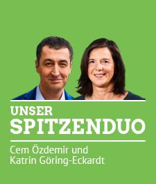 Link: Unser Spitzenduo für die Bundestagswahl 2017 Die Gesichter von Cem Özdemir und Katrin Göring-Eckardt. Dazu der Text: Unser Spitzenduo. Cem Özdemir und Katrin Göring-Eckardt.